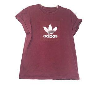 Adidas Trefoil Small Box Logo Maroon T-Shirt Tee